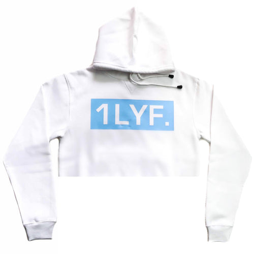 Womens Original White/Light blue Crop Hoodie