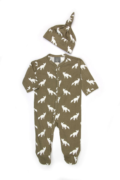 Organic Cotton Knot Just a Hat Set-Fox print