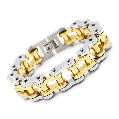 18.5 mm Wide Gold Ion Plated Motorcycle Chain Bracelet - 710125-Badboy Jewellery