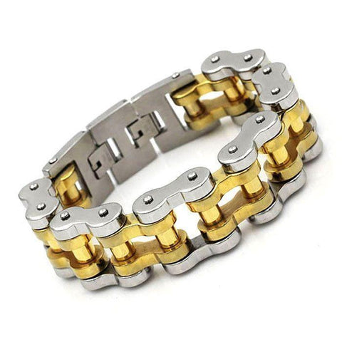 22 mm Gold Ion Plated Motorbike Chain Bracelet - 710035-Badboy Jewellery