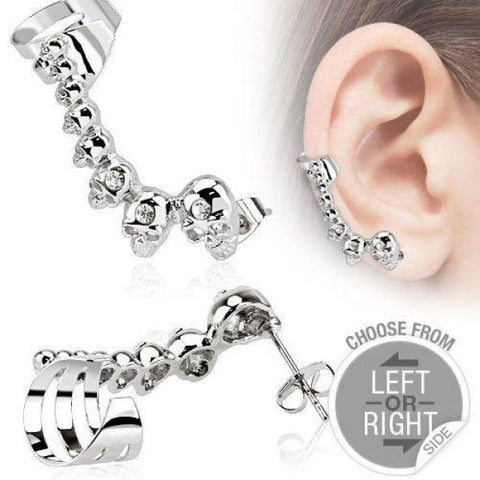 316L Stainless Steel Cartilage Ear Cuff with Mini Cast Skulls-Badboy Jewellery