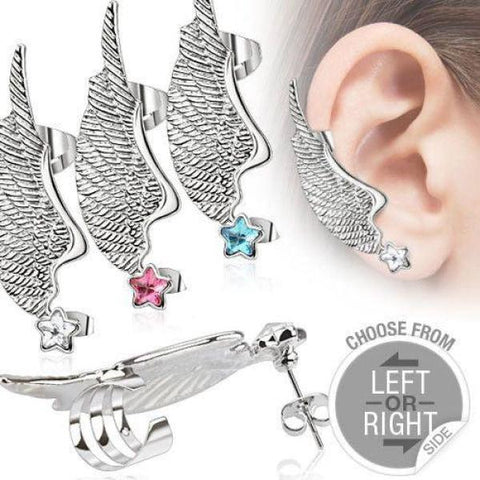 316L Surgical Steel Angel Wing Ear Cuff with Star CZ Stud-Badboy Jewellery