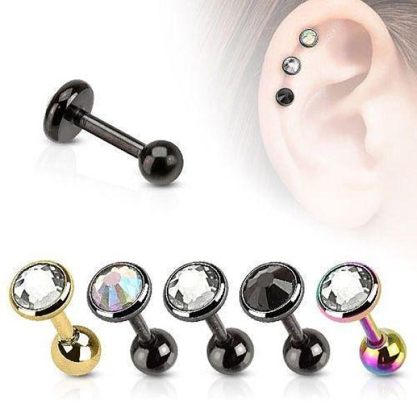 316L Surgical Steel Cartilage Barbell With Flat Top Disc Gem-Badboy Jewellery