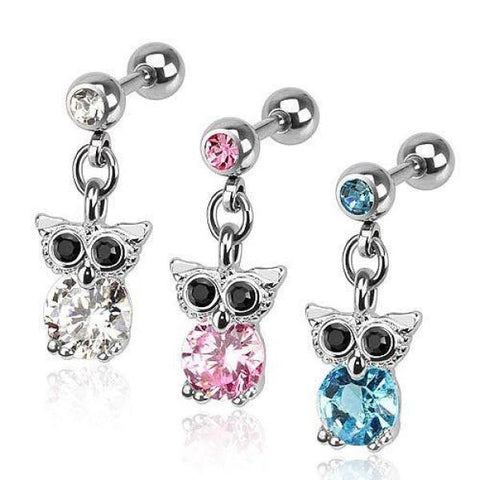 316L Surgical Steel Dangle Owl Tragus/Cartilage Barbell-Badboy Jewellery
