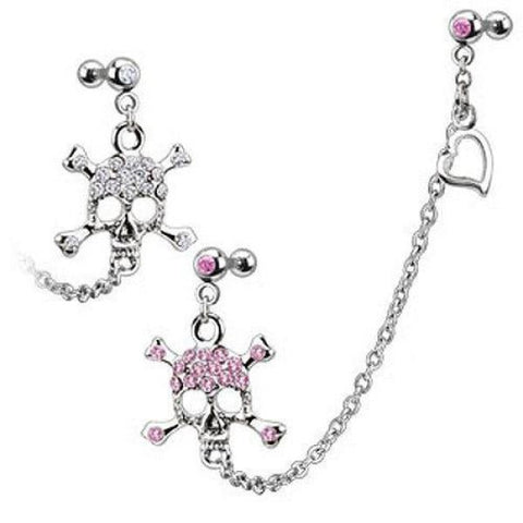316L Surgical Steel Double Cartilage/Tragus Barbell Chain Linked Gemmed Skull and Crossbones-Badboy Jewellery