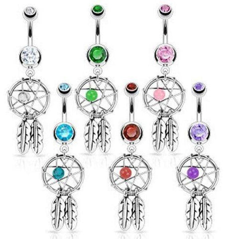 316L Surgical Steel Dream Catcher Belly Navel Bar-Badboy Jewellery