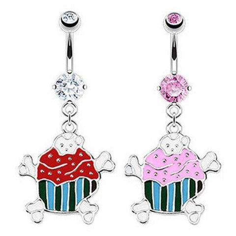 316L Surgical Steel Evil Cupcake & Crossbones Dangle Navel Barbell-Badboy Jewellery