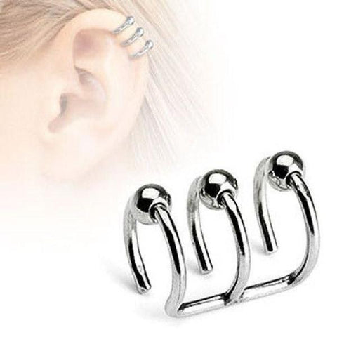 316L Surgical Steel Fake Cartilage Triple Closure Ring Ear Cuff.-Badboy Jewellery