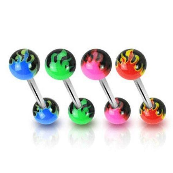 316L Surgical Steel Flame Acrylic Balls Barbell-Badboy Jewellery
