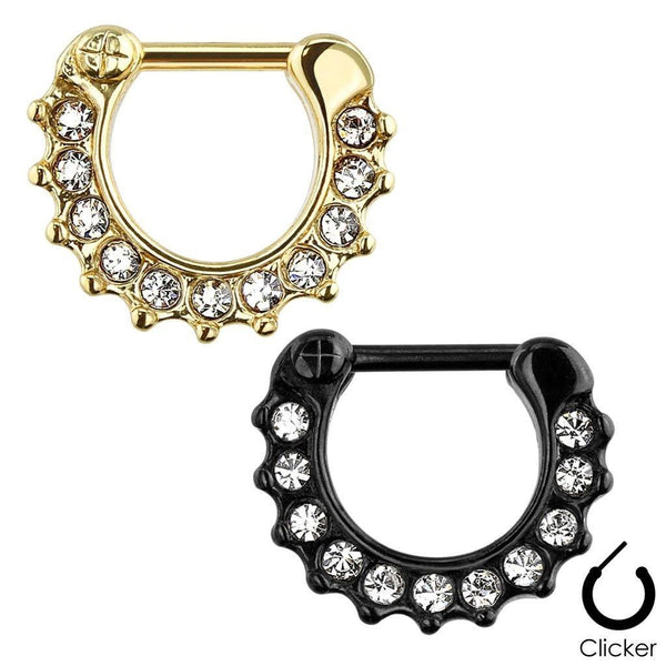 316L Surgical Steel Gem IP Plated Septum Clicker Ring-Badboy Jewellery