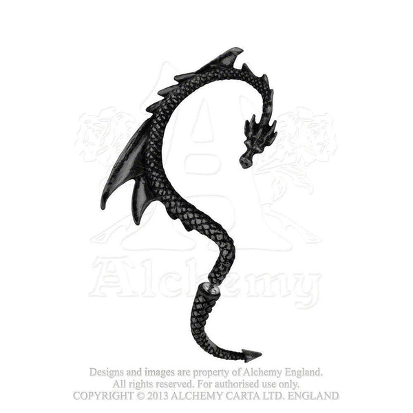 Alchemy The Dragon's Lure Right Black Ear Wrap - E274b-Badboy Jewellery