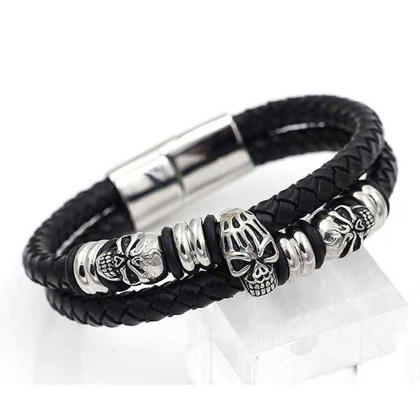Biker Skulls & Beads Bracelet - Leather & Steel -790119-Badboy Jewellery