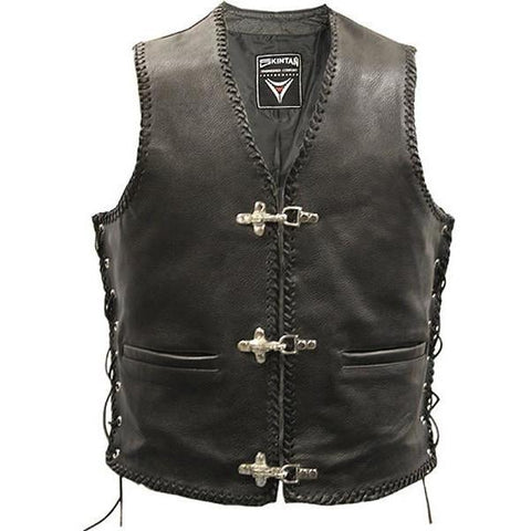Brace - Laced Hand Plaited Biker Vest by Skintan Leather-Badboy Jewellery