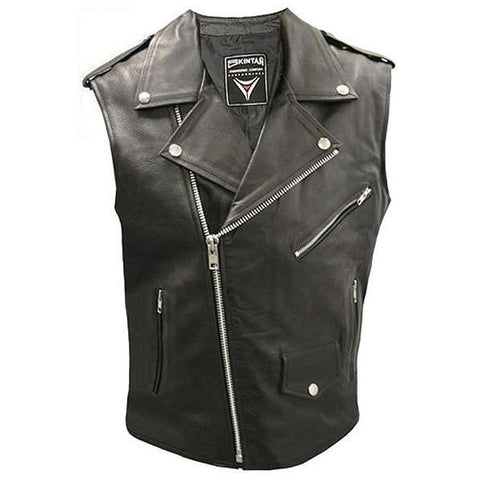 Brando Sleeveless Biker Vest by Skintan Leather-Badboy Jewellery