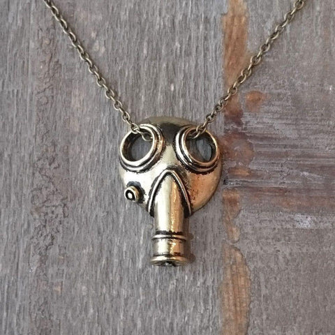 Bronze Colour Gas Mask Pendant-Badboy Jewellery