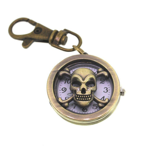 Bronze Colour Plated Zinc Alloy Key Chain Skull Watch-Badboy Jewellery