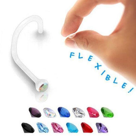 Clear Bioflex Nose Screw with Bezel Set Gem-Badboy Jewellery