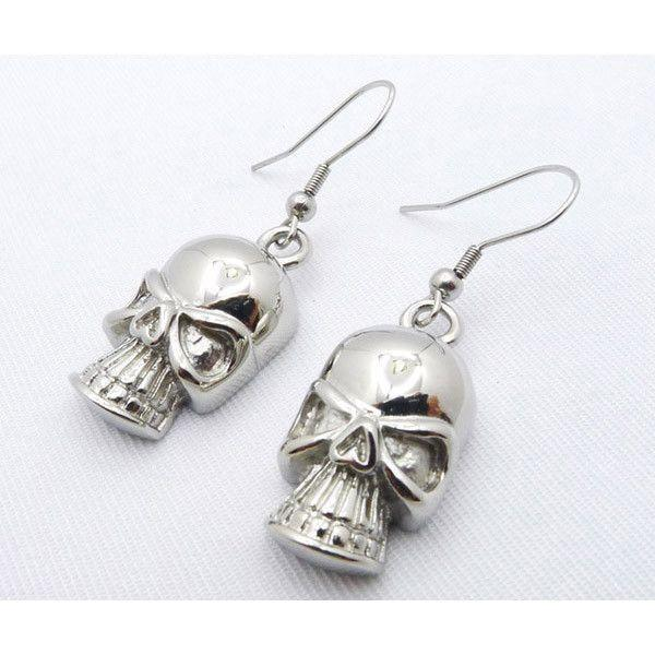 Dangling Stainless Steel Skull Earrings - 050274-Badboy Jewellery