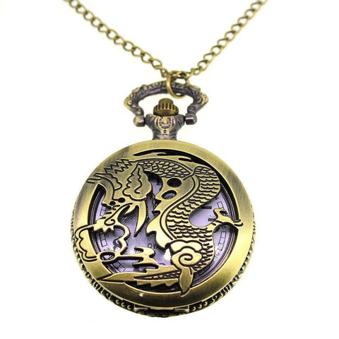 Dragon Antique Bronze Coloured Pocket/Necklace Watch-Badboy Jewellery