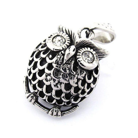 Fat Owl Pendant With CZ Eyes - Stainless Steel - 170263-Badboy Jewellery