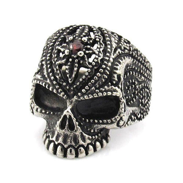 Intricate Skull Ring With Red Stone - 350339-Badboy Jewellery