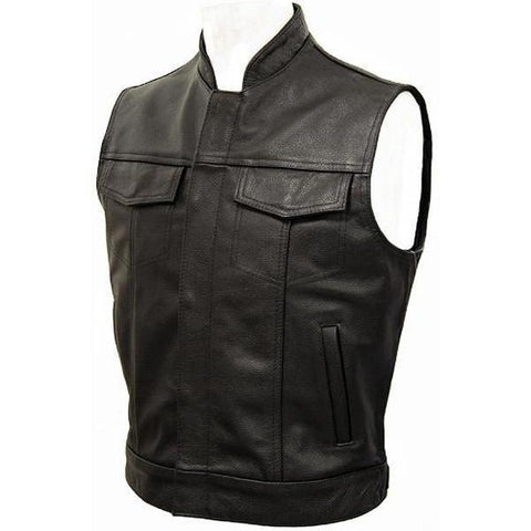 Jax - Leather Cut Off Outlaw Biker Vest by Skintan Leather-Badboy Jewellery