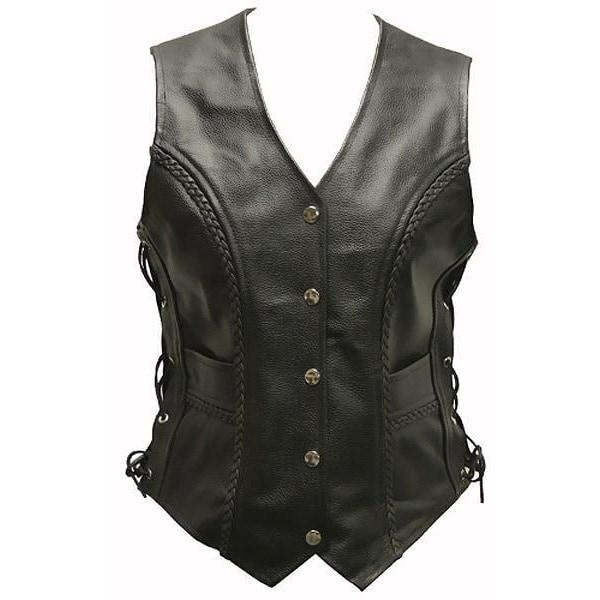 Jessie - Ladies Leather Biker Vest by Skintan Leather-Badboy Jewellery