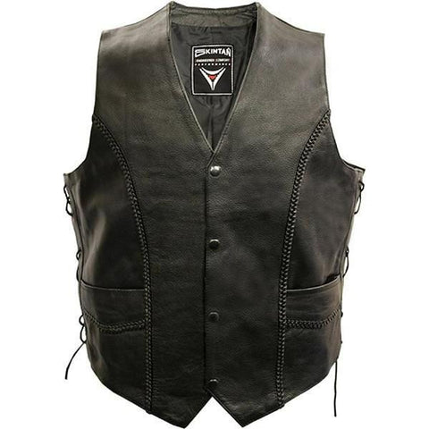 Lace Side Woven Plait Biker Vest by Skintan Leather-Badboy Jewellery