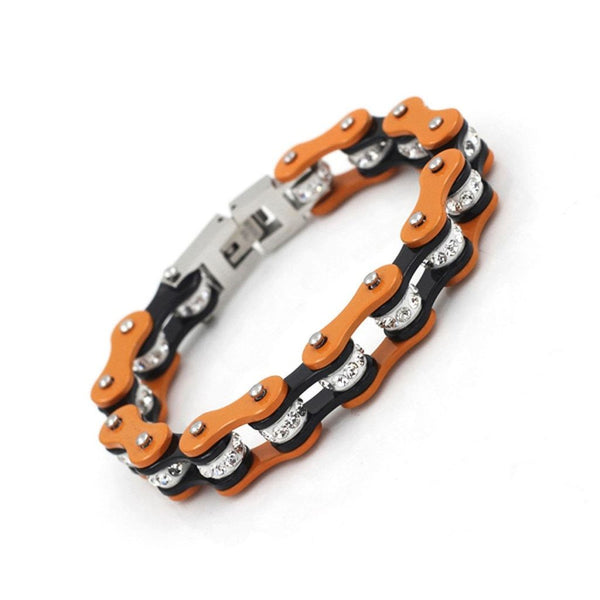 Ladies Black and Orange Ion Plated Motorcycle Chain Bracelet-Badboy Jewellery