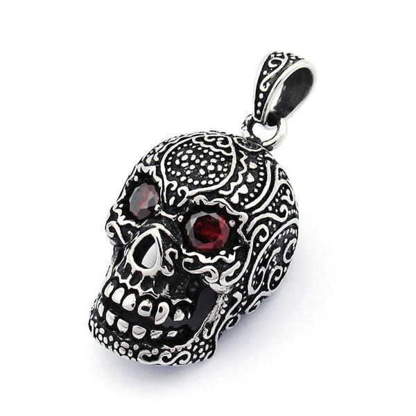 Large 3D Sugar Skull Pendant With Red CZ Eyes-Badboy Jewellery