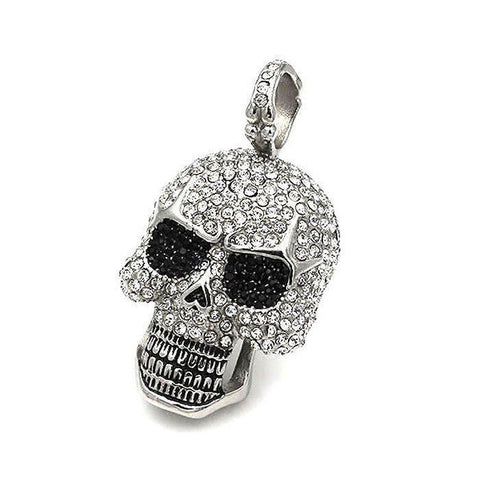 Large Skull Pendant Set With CZs - 400242-Badboy Jewellery