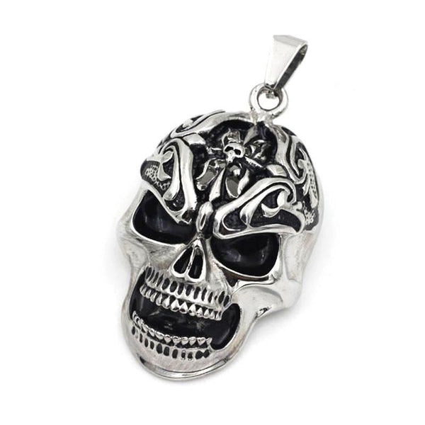 Large Stainless Steel Skull with Oxidised Eyes and Mouth - 051607-Badboy Jewellery