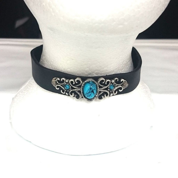 Leather And Blue Stone Choker-Badboy Jewellery