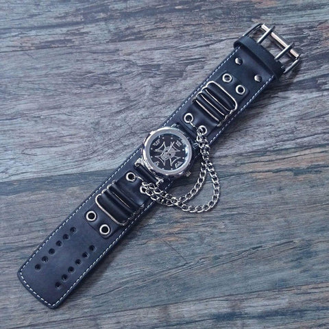 Leather and Zinc Alloy Iron Cross and Skull Wristwatch-Badboy Jewellery