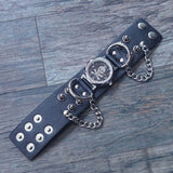 Leather and Zinc Alloy Studded Wristwatch-Badboy Jewellery