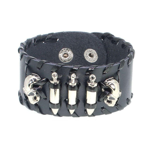 Leather Biker Bracelet With Skulls & Bullets-Badboy Jewellery