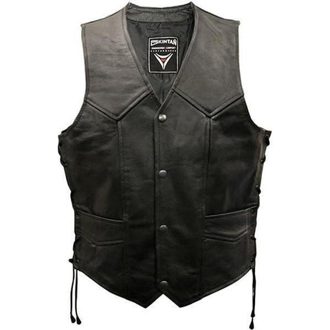 Leather Lace Sided Biker Vest by Skintan Leather-Badboy Jewellery