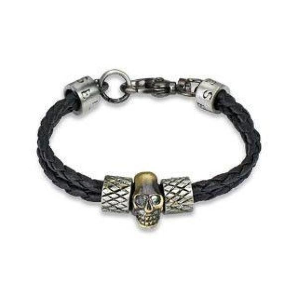 Leather & Steel Double Strand Skull Bracelet - 0082-Badboy Jewellery