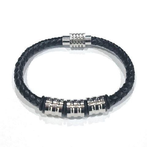 Leather With Grooved Barrel Beads Bracelet - 92218-Badboy Jewellery