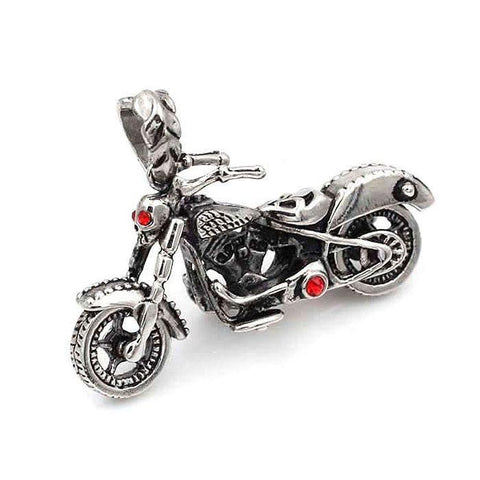 Motorbike Pendant With Red CZs - 890021-Badboy Jewellery