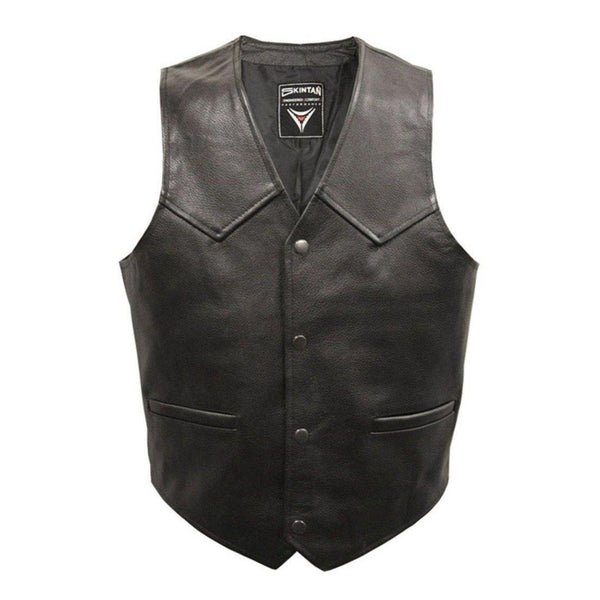 Plain Leather Biker Vest by Skintan Leather-Badboy Jewellery