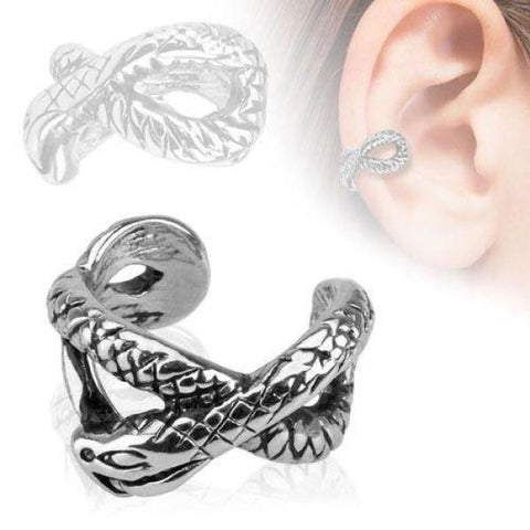 Rhodium Plated Brass Non Pierced Snake Ear Cuff-Badboy Jewellery