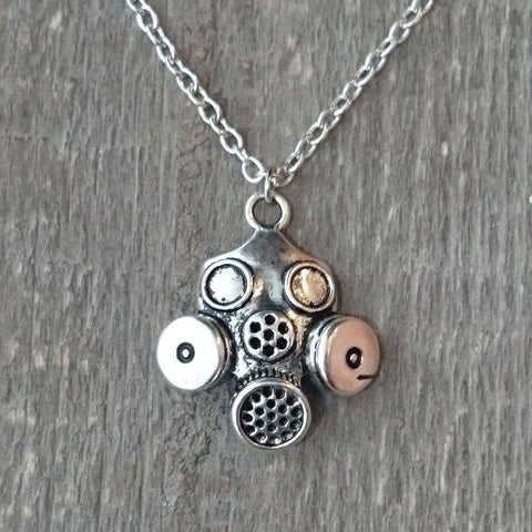 Silver Coloured Gas Mask Pendant-Badboy Jewellery