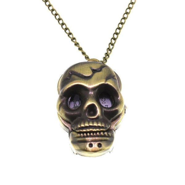 Skull Antique Bronze Coloured Pocket/Necklace Watch-Badboy Jewellery