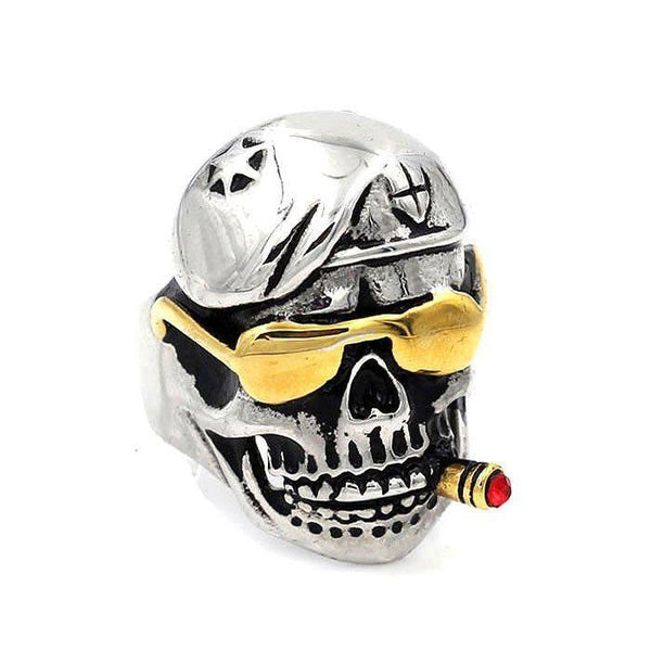 Skull Ring With Gold IP Sunglasses & Cigar - 090410-Badboy Jewellery