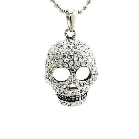 Skull With CZs Pendant-Badboy Jewellery