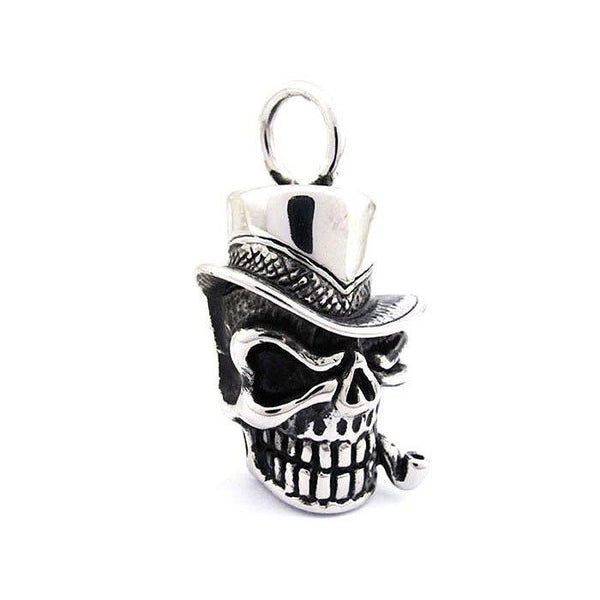 Skull With Top Hat & Pipe Pendant - Stainless Steel - 170366-Badboy Jewellery