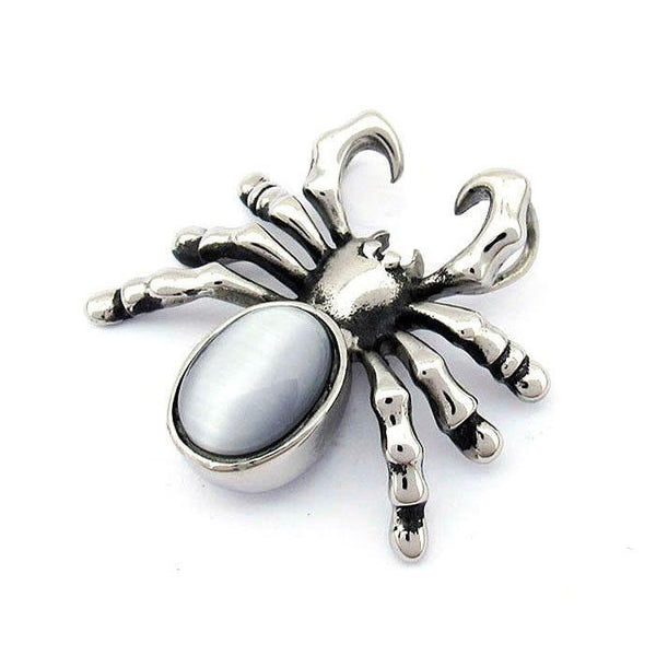Spider Pendant With Blue or Black Gemstone - 170484-Badboy Jewellery