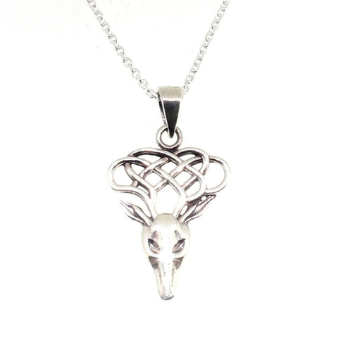 Stag Head With Celtic Knot Antlers Sterling Silver Pendant-Badboy Jewellery