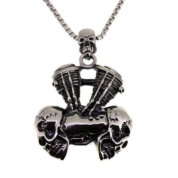 Stainless Steel Bike Engine with Skulls-Badboy Jewellery